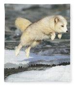 Arctic Fox Jumping Fleece Blanket