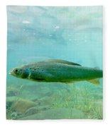 Arctic Grayling Or Thymallus Arcticus Underwater Fleece Blanket