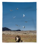 Arctic Terns With Mare And Foal Fleece Blanket