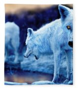 Arctic White Wolves Fleece Blanket