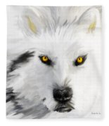 Arctic Wolf With Yellow Eyes Fleece Blanket