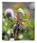 Argiope Spider And Grasshopper Vertical Fleece Blanket