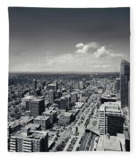 Arial View Of Calgary Facing West Fleece Blanket