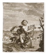 Arion Preserved By A Dolphin, 1731 Fleece Blanket