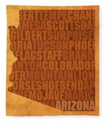 Arizona Word Art State Map On Canvas Fleece Blanket by Design Turnpike