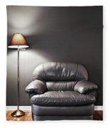 Armchair And Floor Lamp Fleece Blanket