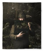 Army Soldier With Security Screen Saver Fleece Blanket