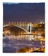Arrabida Bridge At Night In Porto And Gaia Fleece Blanket
