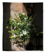Arrangement Of White Flowers Fleece Blanket