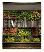 Arrival Sign Arrow And Flowers At Singapore Changi Airport Fleece Blanket