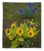 Arrowleaf Balsamroot And Lupine Fleece Blanket
