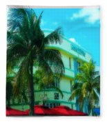 Art Deco Barbizon Hotel Miami Beach Fleece Blanket