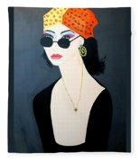 Art Deco  Hippy Girl Fleece Blanket