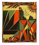 Art Deco In Orange Fleece Blanket