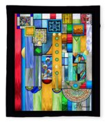 Art Deco Stained Glass 1 Fleece Blanket