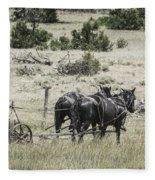 Art Of Horse Plowing Fleece Blanket
