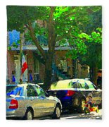 Art Of Montreal Day With Daddy And Yellow Wagon Zooming Our Streets Of Verdun Scene Carole Spandau  Fleece Blanket