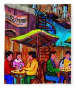 Art Of Montreal Enjoying A Pint At Ye Olde Orchard Irish Pub And Grill Monkland Village Cafe Scenes Fleece Blanket