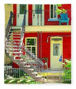 Art Of Montreal Upstairs Porch With Summer Chair Red Triplex In Verdun City Scene C Spandau Fleece Blanket