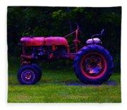 Artful Tractor In Purples Fleece Blanket