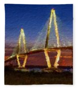 Arthur Ravenel Bridge At Evening  Fleece Blanket