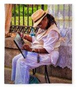 Artist At Work - Painting  Fleece Blanket