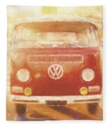 Artistic Digital Drawing Of A Vw Combie Campervan Fleece Blanket