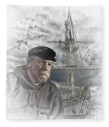 Artistic Digital Image Of An Old Sea Captain Fleece Blanket