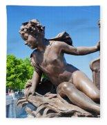 Artistic Statue On Alexandre Bridge Against Eiffel Tower Fleece Blanket