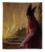 As The Flames Rise Odin Leaves Fleece Blanket
