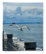 As The Seagull Flies Fleece Blanket