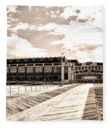Asbury Park Boardwalk And Convention Center Fleece Blanket