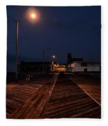 Asbury Park Boardwalk At Night Fleece Blanket