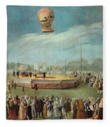Ascent Of A Balloon In The Presence Of The Court Of Charles Iv Fleece Blanket