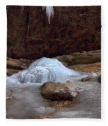 Ash Cave Frozen Over Fleece Blanket