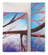Asian Bloom Triptych 1 2 Fleece Blanket