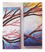 Asian Bloom Triptych 2 3 Fleece Blanket