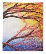 Asian Bloom Triptych 3 Fleece Blanket