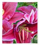 Asian Lily Flowers Fleece Blanket