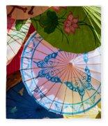 Asian Umbrellas Fleece Blanket