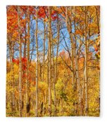 Aspen Fall Foliage Portrait Red Gold And Yellow  Fleece Blanket