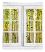 Aspen Forest White Picture Window Frame View Fleece Blanket