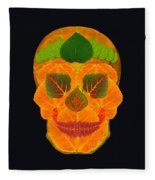 Aspen Leaf Skull 3 Black Fleece Blanket
