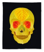Aspen Leaf Skull 4 Black Fleece Blanket