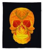 Aspen Leaf Skull 6 Black Fleece Blanket