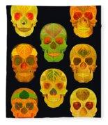 Aspen Leaf Skulls Poster 2014 Black Fleece Blanket