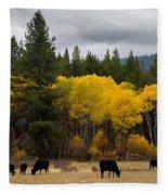 Aspens And Cows Fleece Blanket
