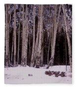 Aspens In Snow Fleece Blanket