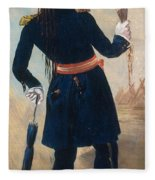 Assiniboine Warrior In Regimental Fleece Blanket