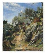 At Noon On A Cactus Plantation In Capri Fleece Blanket
